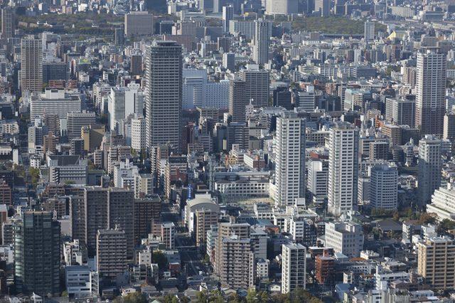 空から見た法人企業のビル群