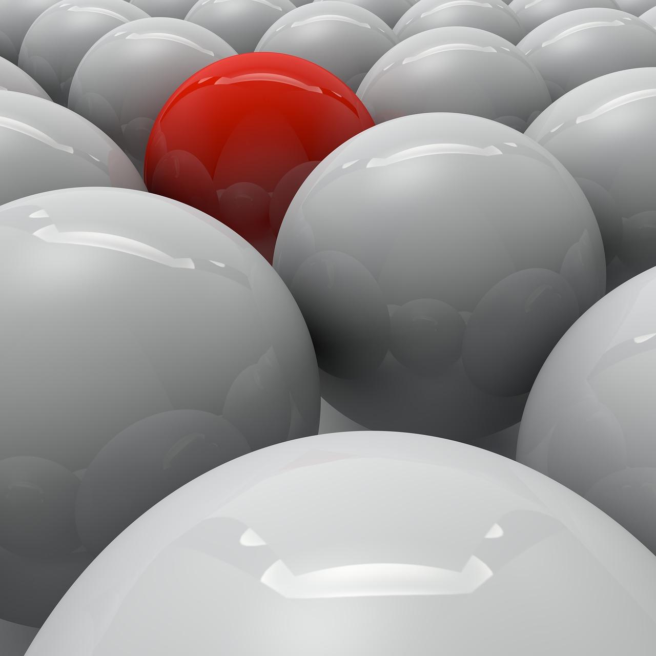 他との差別化赤い球